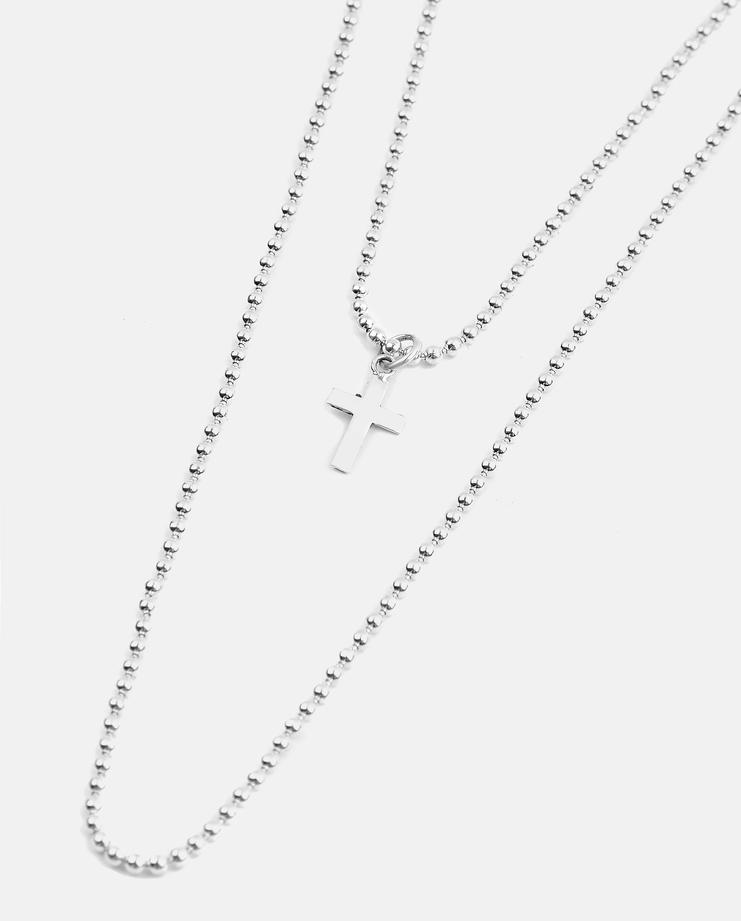 Jenifer Corker Double Cross Silver Necklace