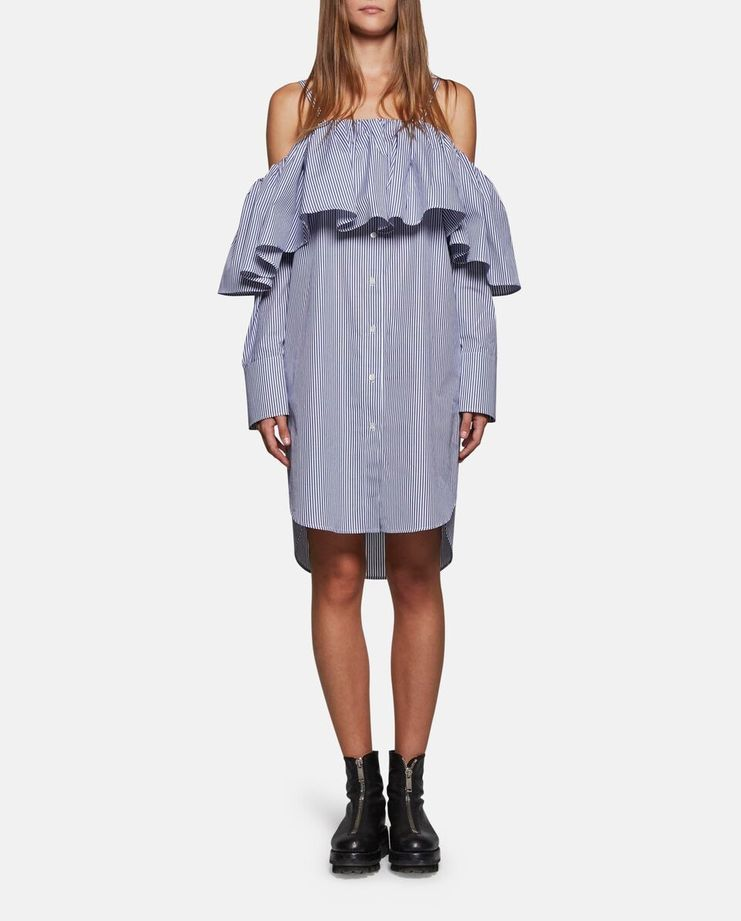Oversized Shirt Dress With Ruffles by Delada SS17