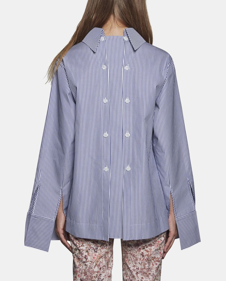 DELADA Oversized Exaggerated Cuff Shirt with Double Back stripe SS17