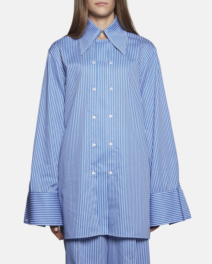 DELADA - Oversized Shirt With Double Panel Front and Cuffs SS17 Button top cotton stripe