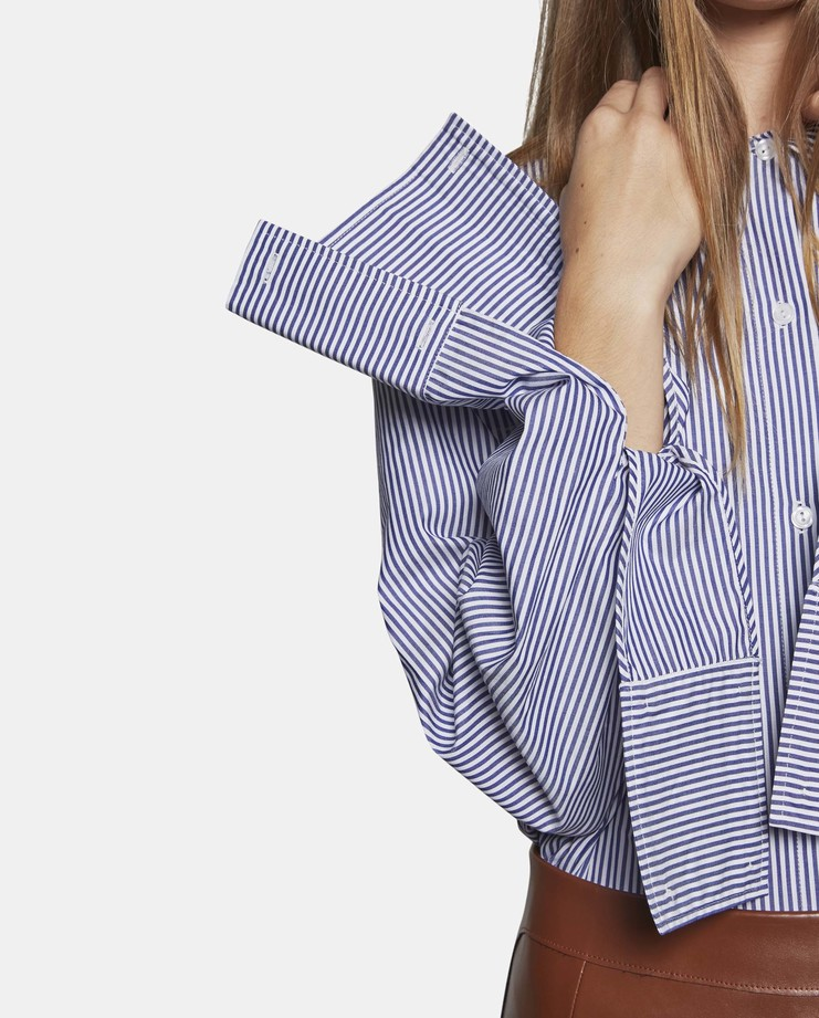 DELADA Oversized Shirt with Double Panel Cuff Stripe SS17