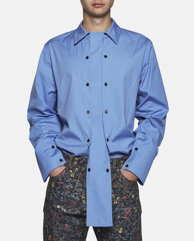 DELADA - Blue Shirt with Double Panel top ss17 fitted tailored