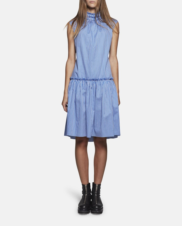 DELADA Sleeveless High Neck Open Back Dress stripe SS17