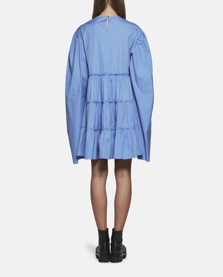 DELADA Oversized Long Sleeve Ruffle Dress Blue ss17