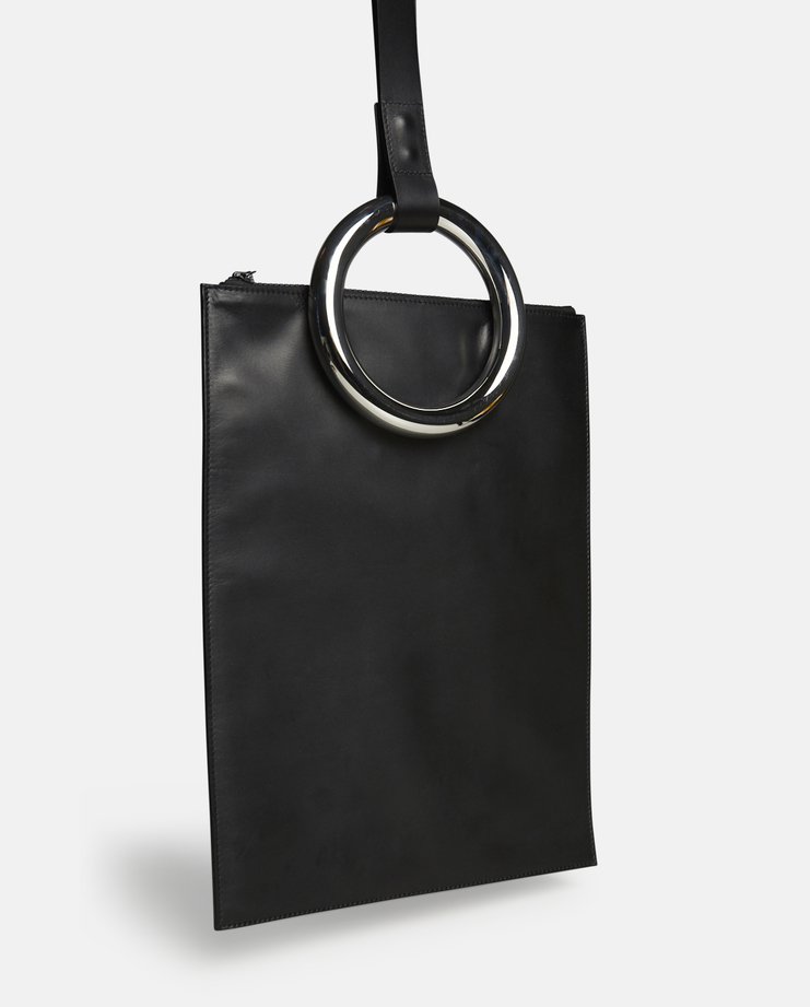 Persephoni Leather Tote Bag with Circular Handle