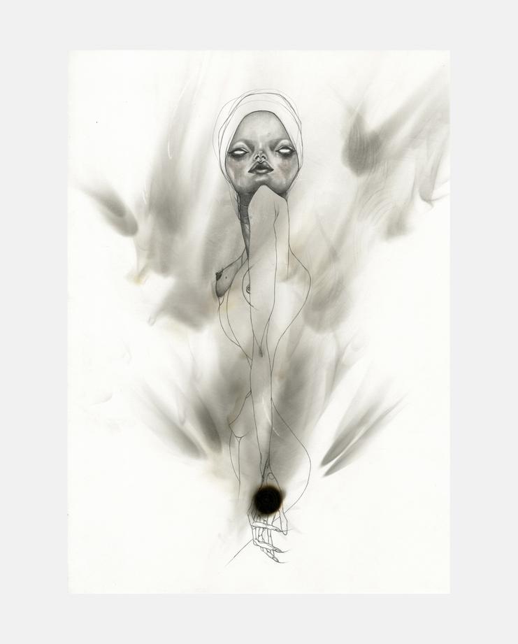 Alexander McQueen, Voss, S/S 01, jowy maasdamme, fashion illustration, showstudio, kate moss
