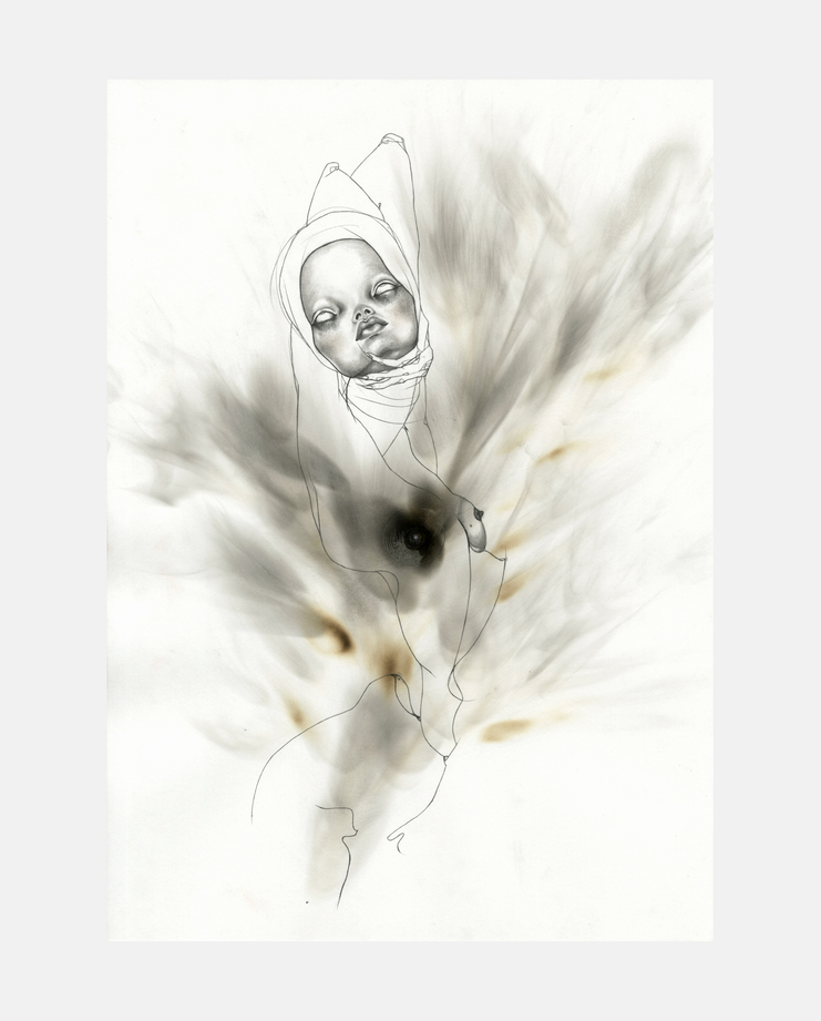 Alexander McQueen, Voss, S/S 01, jowy maasdamme, fashion illustration, showstudio, kate moss