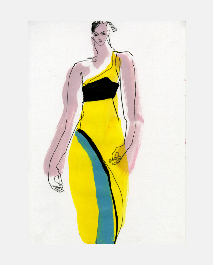 Versace,1996, kate moss, fashion illustration, showstudio
