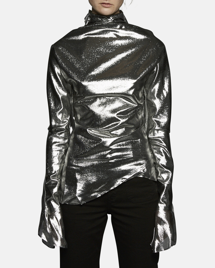 Paula Knorr Long Sleeve Metallic Relief Top