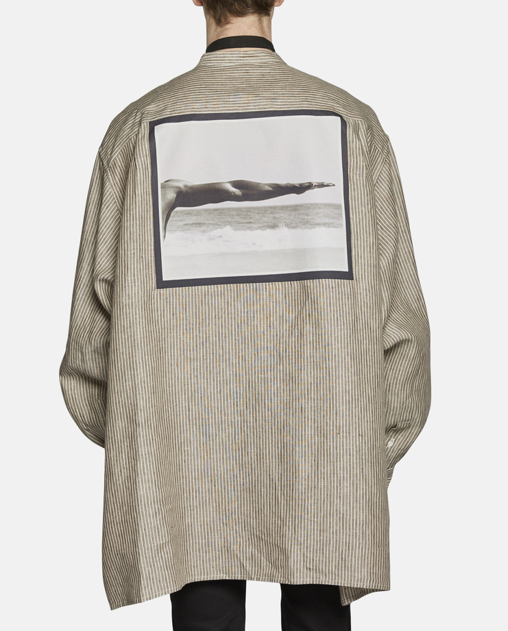Raf Simons Oversized Stripped Linen Shirt with Neck Strap