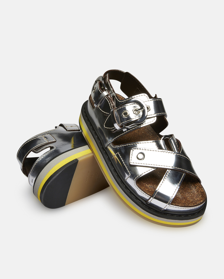 Mirror Leather Platform Sandals