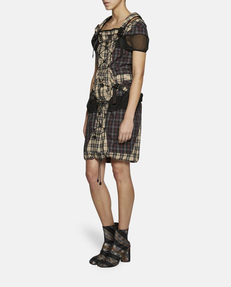 Backpack Strap Tartan Dress