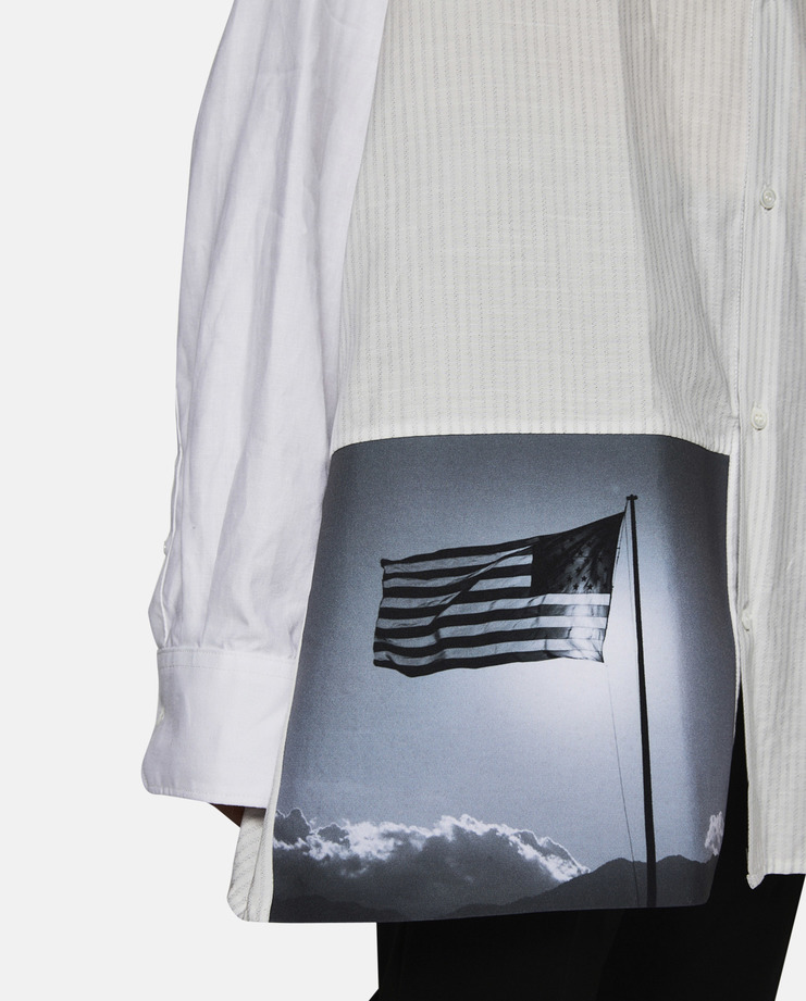 Oversized American Flag Linen Shirt with Neck Strap