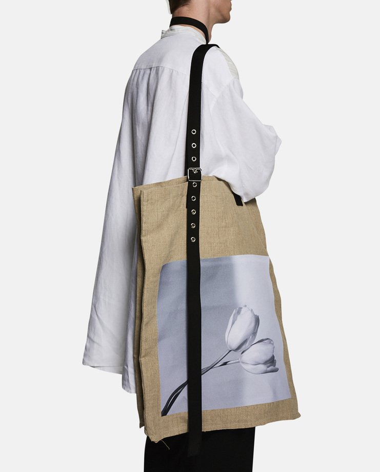 Oversized 'Tulips' Hemp Tote Bag