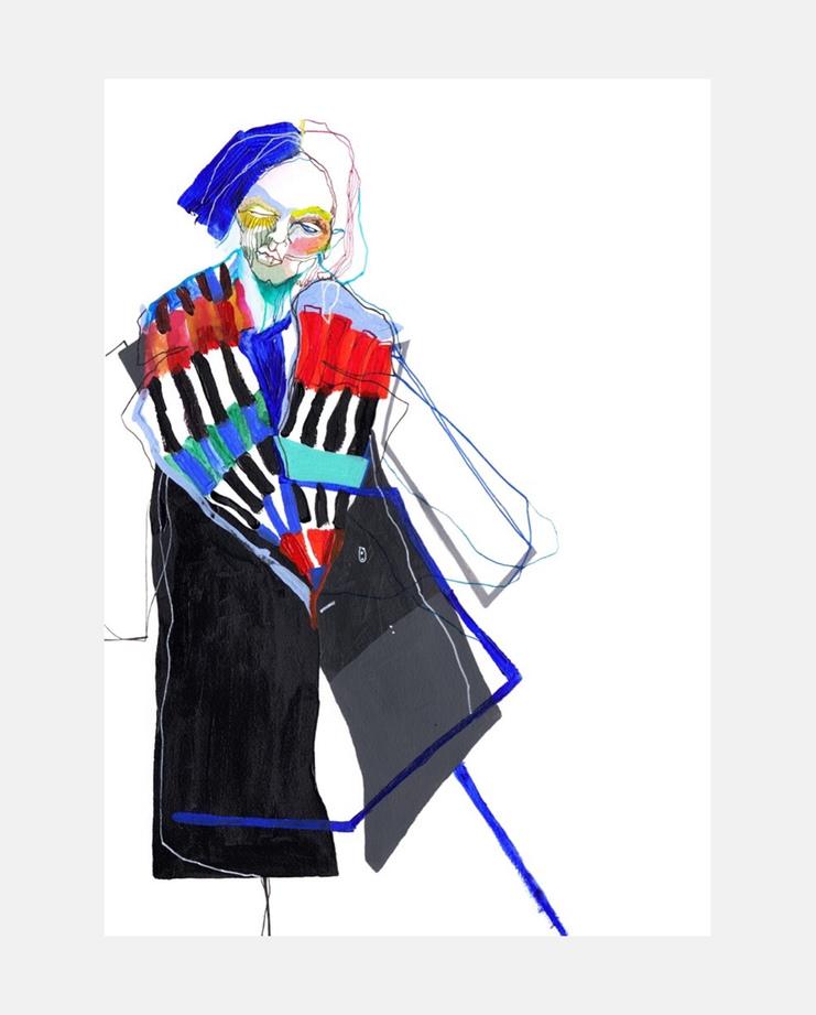 Natasa Kekanovic , Fendi A/W 17 , SHOWstudio, fashion illustration, Milan Menswear