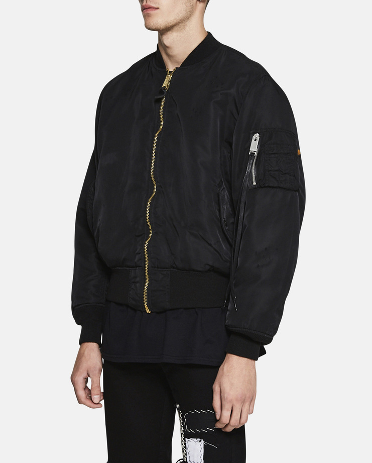 Alyx ss17 New Happiness Bomber Jacket padded polyester down puffy puffer short coat jumper black orange distressed print alpha industries inc