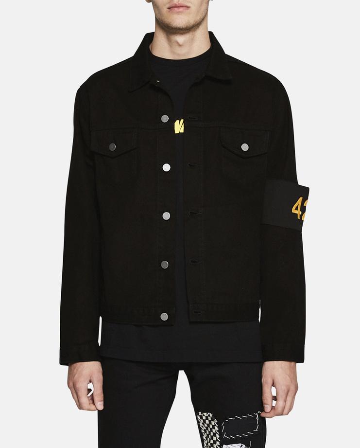 24 - FourTwoFour Text Italic Black SS17 Crewneck Basic Relaxed Yellow Fast Font Sleeve Silver Zipper Pockets Collar Denim Jacket
