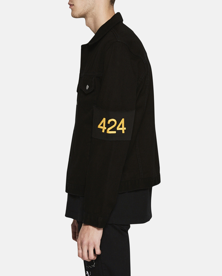 424 - FourTwoFour Text Italic Black SS17 Crewneck Basic Relaxed Yellow Fast Font Sleeve Silver Zipper Pockets Collar Denim Jacket