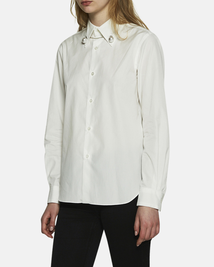 Noir Kei Ninomiya, Pearl Button Up Blouse, White Shirt, White Blouse, Womens Kei Ninomiya, Kei Blouse, White Shirt With Details, Pearl Shirt, New Arrivals, Noir Kei Ninomiya S/S 17