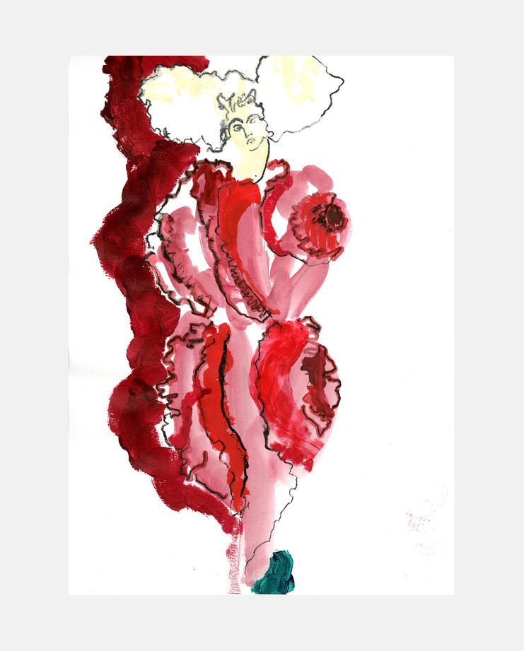 "Helen Bullock, Comme des Garçons ""Blood and Roses"" Spring 2015, Fashion Flora, SHOWstudio"