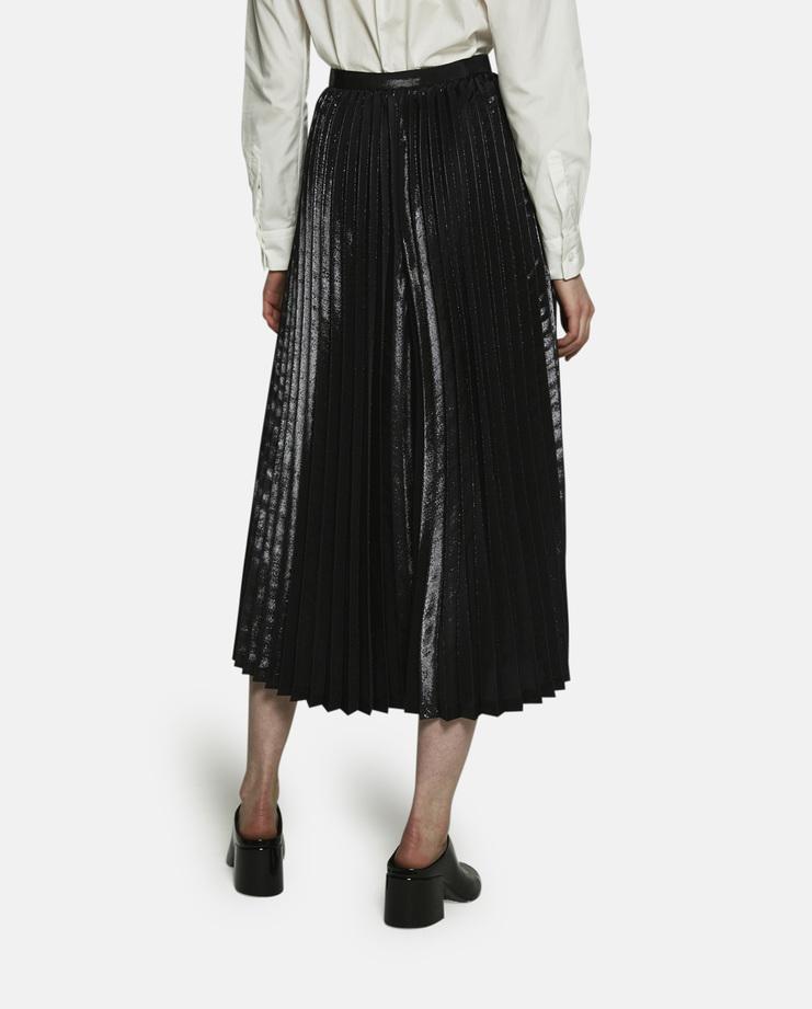 Noir Kei Ninomiya, Shimmer Effect Pleated Skirt, Black Pleated Skirt, Shiny Pleated Skirt, Womens Skirt, Black Skirt, New Skirt, New Arrivals, New Noir Kei Collection, Noir Kei SS17 New Arrivals, Womens Noir Kei