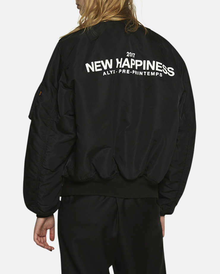 Alyx New Happiness Bomber Jacket padded polyester down puffy puffer short coat ss17 natural order aw16 17 black orange distressed print alpha industries inc