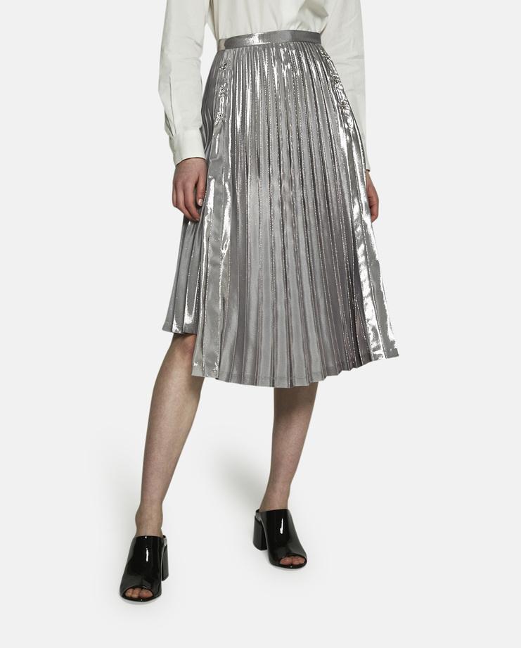 Noir Kei Ninomiya, Asymmetrical Pleated Skirt, Silver Skirt, Noir Kei Womens, Silver Womens Skirt, Silver Pleated Skirt, Asymmetrical Skirt, New Arrivals, Noir Kei New Arrivals, S/S 17 Noir Kei Ninomiya, S/S 17