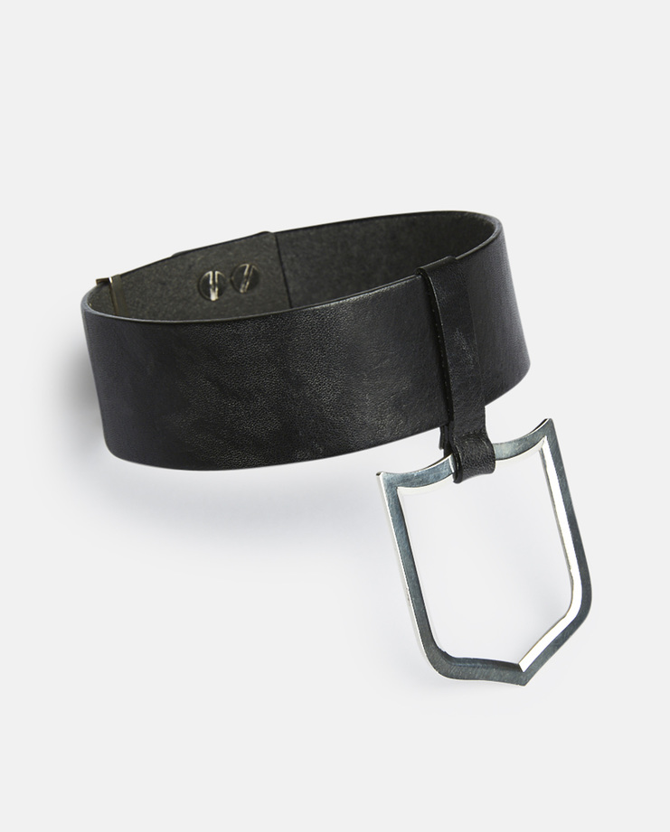 Ambush, SSS Leather Shield Choker, Necklace, Jewellery, Unisex, Black, New Arrivals, SS17, Leather, Silver