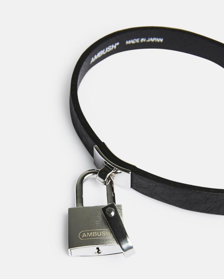 Ambush, Stance Rebel Padlock Choker, Unisex, Accessories, Silver, Jewellery, Necklace, Black, Leather, Steel, New Arrivals, SS17