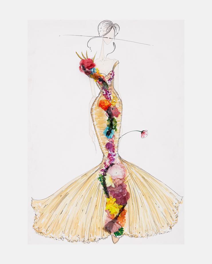 Jean Paul Gaultier Spring 2006, Joseph Larkowsky, fashion illustration, fashion flora, showstudio, flora starkey