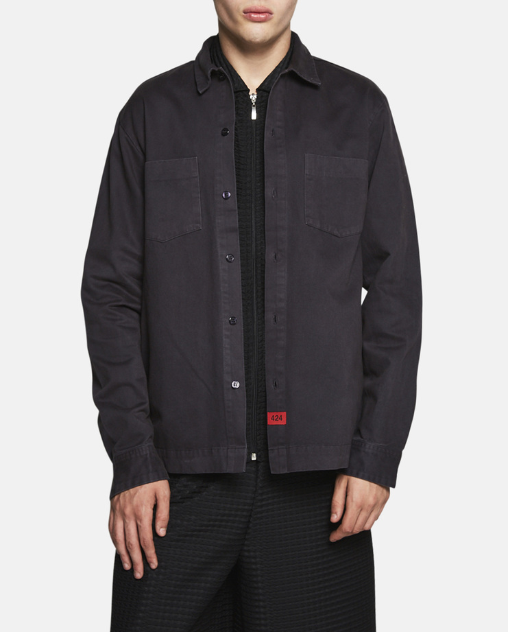 424, Twill Button-Up Work Shirt, Overshirt, Jacket, Top, Charcoal, Grey, New Arrivals, S/S 17