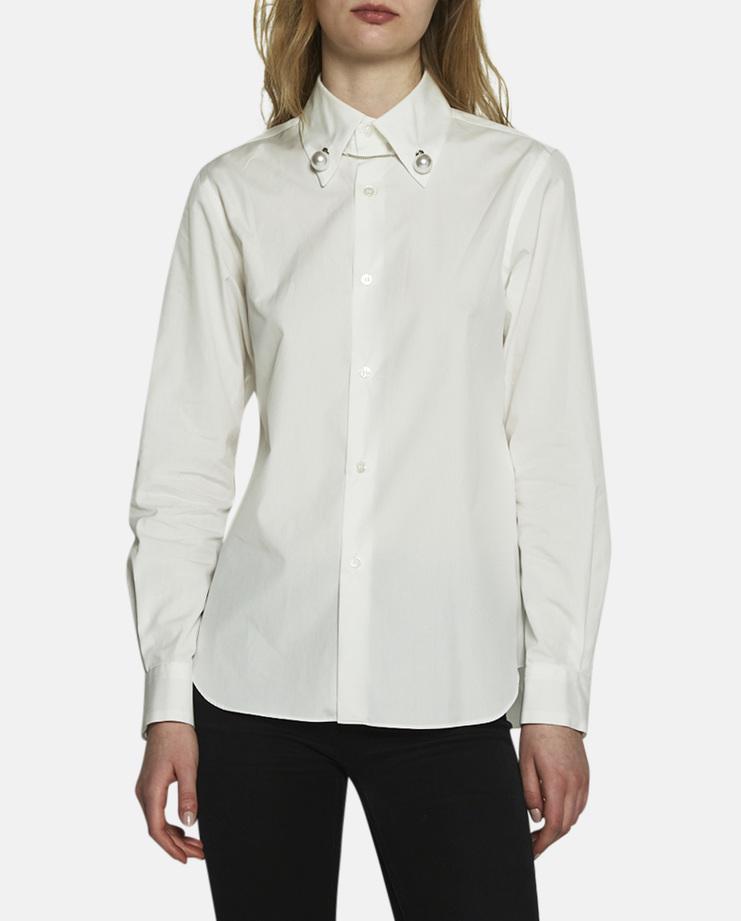 Noir Kei Ninomiya, Pearl Button Up Blouse, White Shirt, White Blouse, Womens Kei Ninomiya, Kei Blouse, White Shirt With Details, Pearl Shirt, New Arrivals, Noir Kei Ninomiya S/S 17