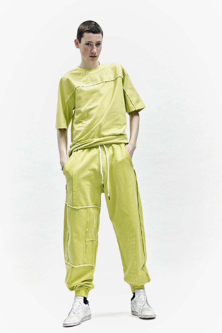 Liam Hodges Aponysus Pant lime green raw edge aw17 aw 17 cotton jersey trackpant united kingdom
