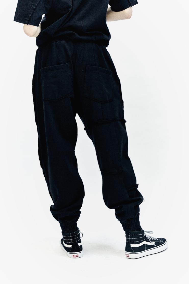 Liam Hodges Aponysus Pant black raw edge aw17 aw 17 cotton jersey trackpant united kingdom