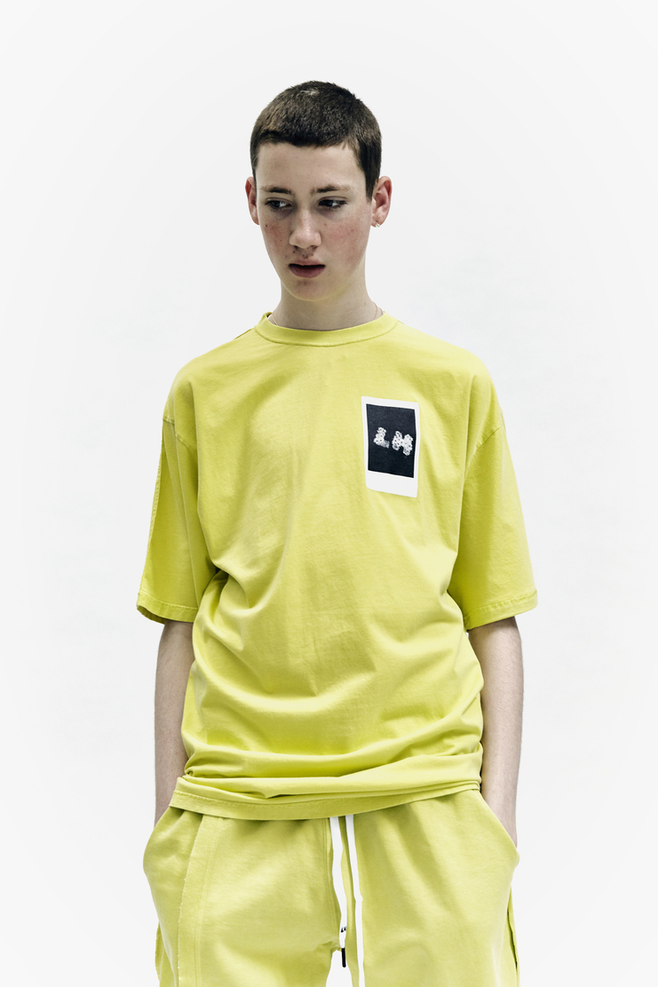 Liam Hodges We Can T-Shirt polaroid aw17 lime green fluoro cotton tee aw 17 lfw