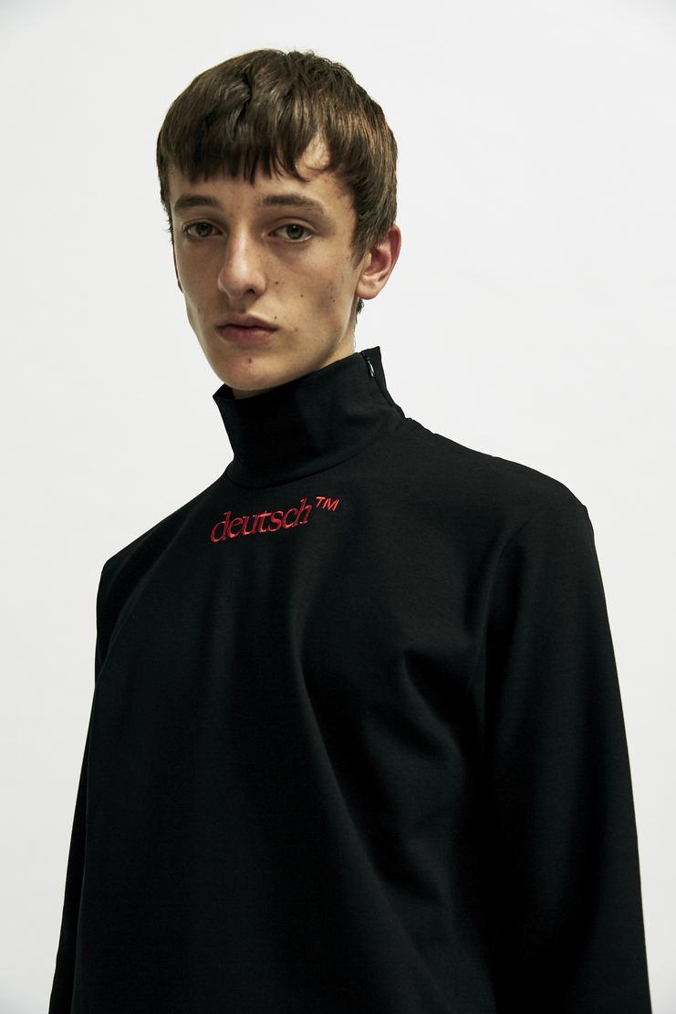 John Lawrence Sullivan - Black 'Deutsch' Long Sleeve T-Shirt aw17 A/W17 top