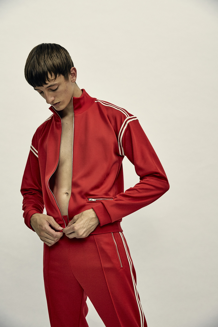 Maison Margiela Tracksuit Top Track Jacket Sweatshirt Autumn Winter 17 AW17 Red Striped Stripes Polyester MMM Martin