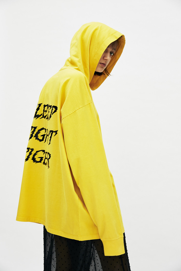"""MM6 """"Sleep Tight Tiger"""" Yellow Hooded T-Shirt top hoodie oversized big maison margiela galliano aw17 a/w17"""