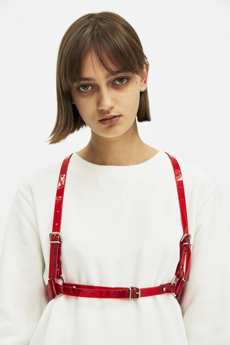 Fleet Ilya D-Ring Harness Red PVC Made in England Autumn Winter 17 AW17 Brass Accessories Belt Handmade