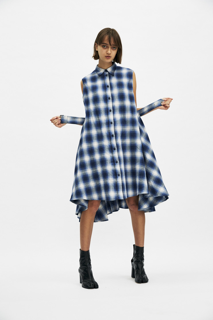 MM6 Blue Check Flannel Dress Autumn Winter 17 AW17 Skirt Belt Layered Galliano Plaid Maison Margiela Margieila