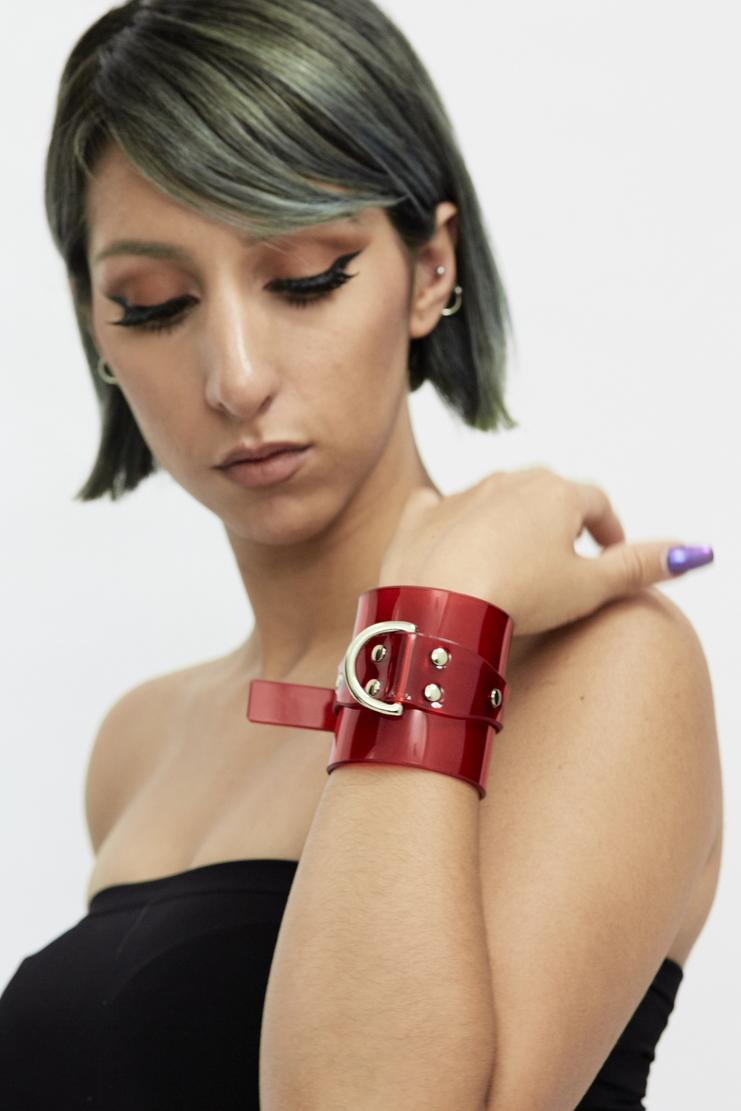 Fleet Ilya Red Classic Studded Cuff Autumn Winter 17 AW17 PVC Made In England Stud Bracelet Silver Buckle Transparent
