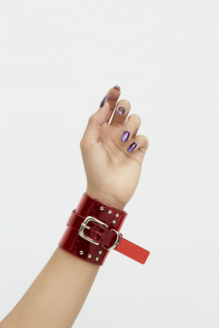 Fleet Ilya Red Classic Studded Cuff Autumn Winter 17 AW17 PVC Made In England Stud Bracelet Silver Buckle Transparent