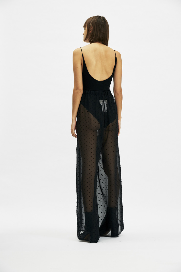 MM6 - Transparent Dotted Trousers Maison Martin Margiela see through transparent MMM black dot wide leg