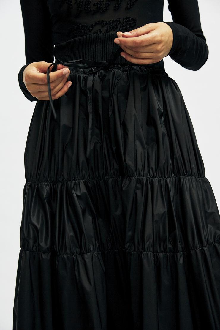 Maison Margiela Ruched Drawstring Skirt MMM Autumn Winter 17 AW17 Martin Long Dress Black floor length quilted