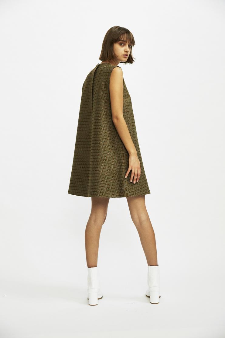 MM6 - Woven Pattern Mini Dress aw17 avp a/w17 a/w 17 short twill check margiela maison margelia galliano