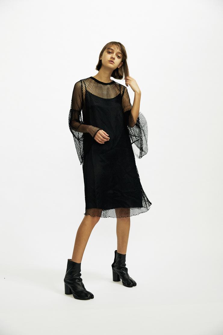 MM6 - Layered Fishnet Dress black net mini maison margiela aw17 a/w17 galliano