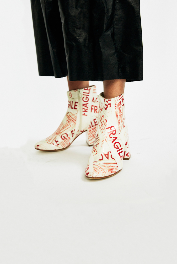Maison Margiela 'Fragile' Ankle Boots Autumn Winter 17 AW17 Tape Graphic Print Red White Leather MMM Martin