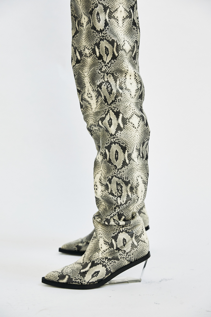 Maison Margiela Thigh High Snakeskin Boots faux fake leather plastic perspex wedge chaps aw17 aw 17 martin margeila