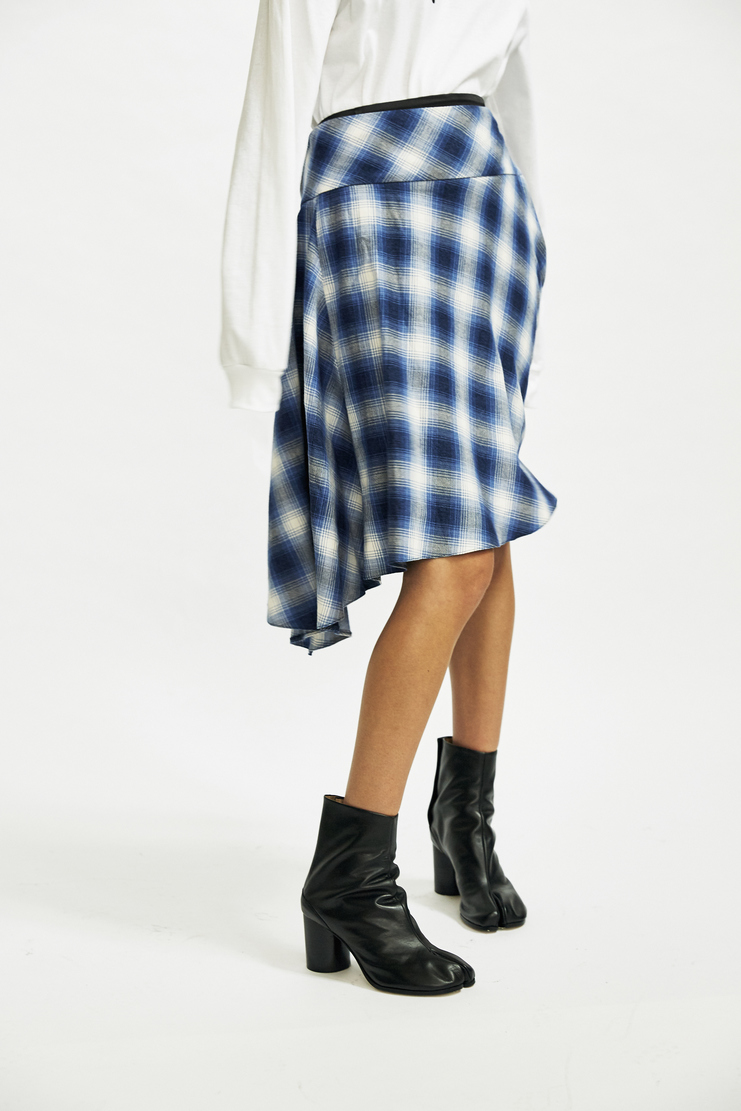 MM6 Blue Check Flannel Shirt Skirt layered Maison Margiela Galliano aw17 a/w17