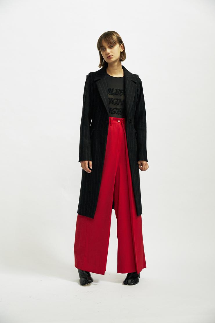 MM6 Black Felt Pinstripe Coat Maison Margiela Galliano AW17 Jacket Autumn Winter 17 A/W17
